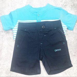 Dkny Other - DKNY Infant Boy 2 piece SS Short Set Navy Blue NWT